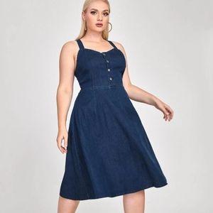 Shein Curve Dark Denim A-Line Flare Jean Dress Stretchy Plus Size